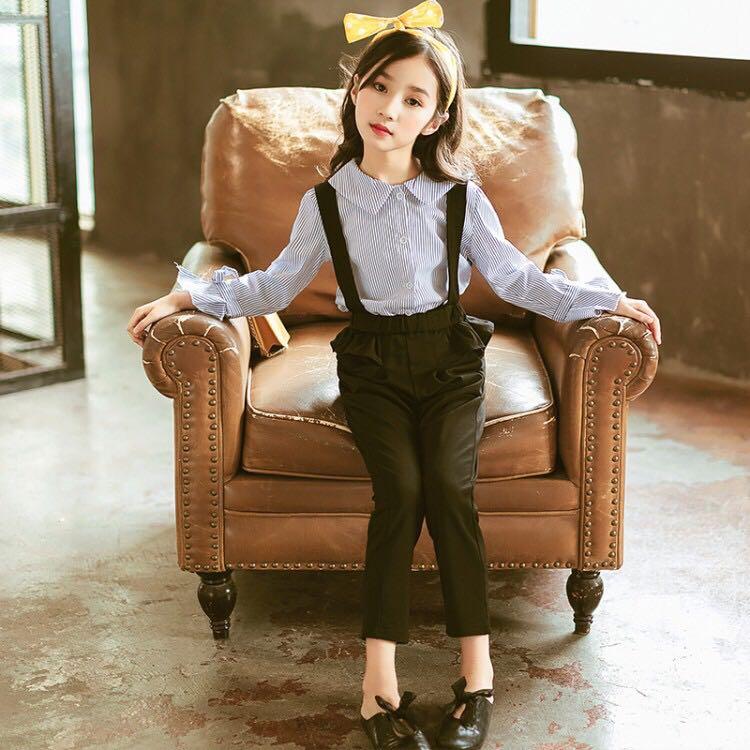春上新女中大童条纹衬衫背带裤两件套