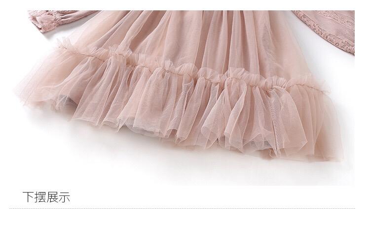 春上新女中大童纯色蕾丝连衣裙