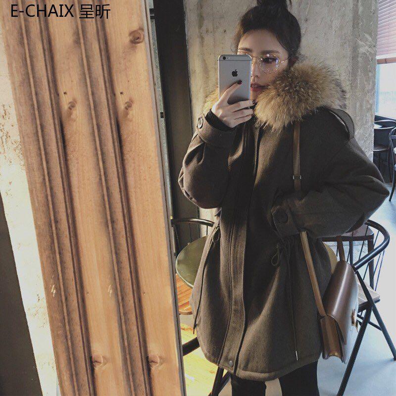 2018新款韩版冬季超大毛领连帽棉服墨绿色中长款黑色棉衣外套女装