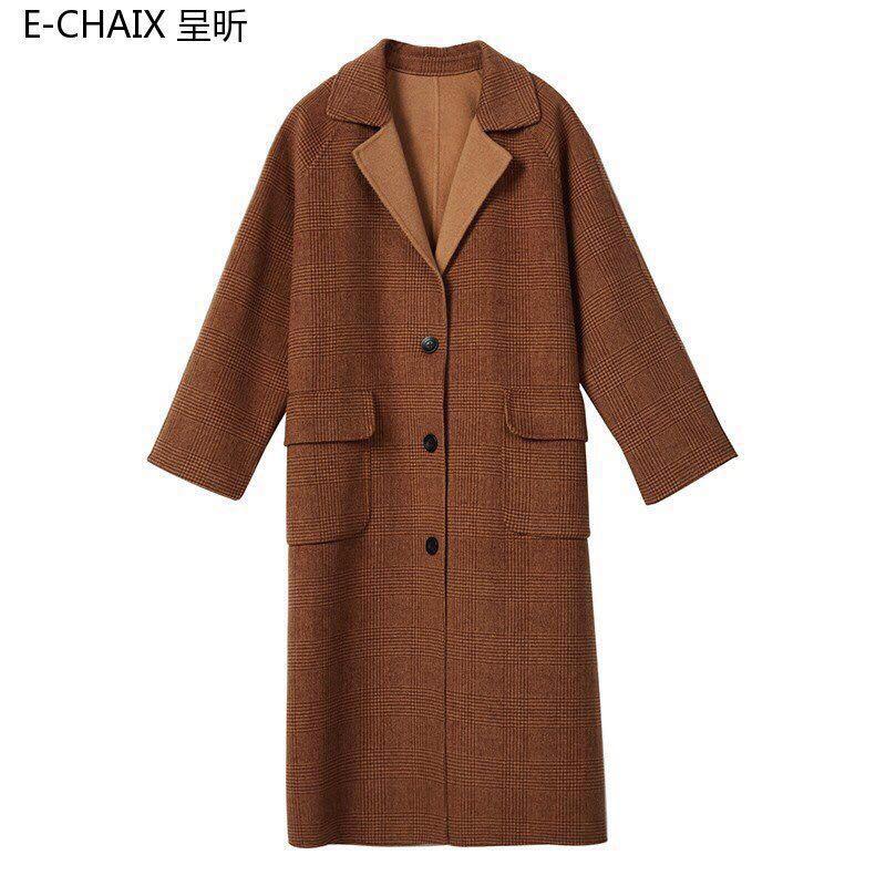 2018冬装新款 双面羊绒大衣 小复古气质单排扣大口袋双面羊毛大衣外套