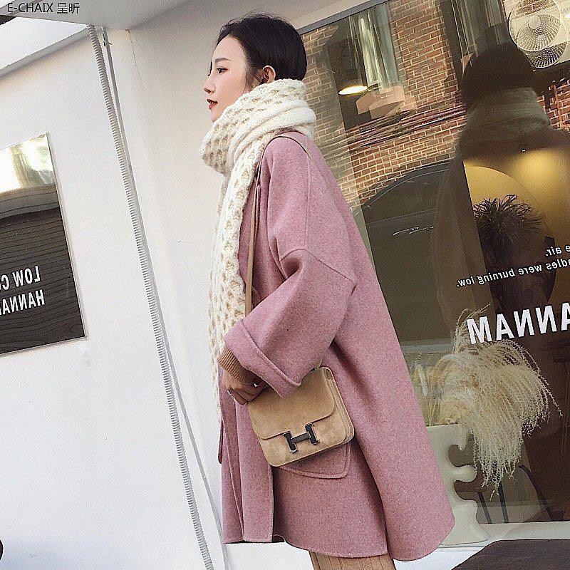2018冬装新款 粉色廓形双面羊毛呢子大衣宽松中长款外套女