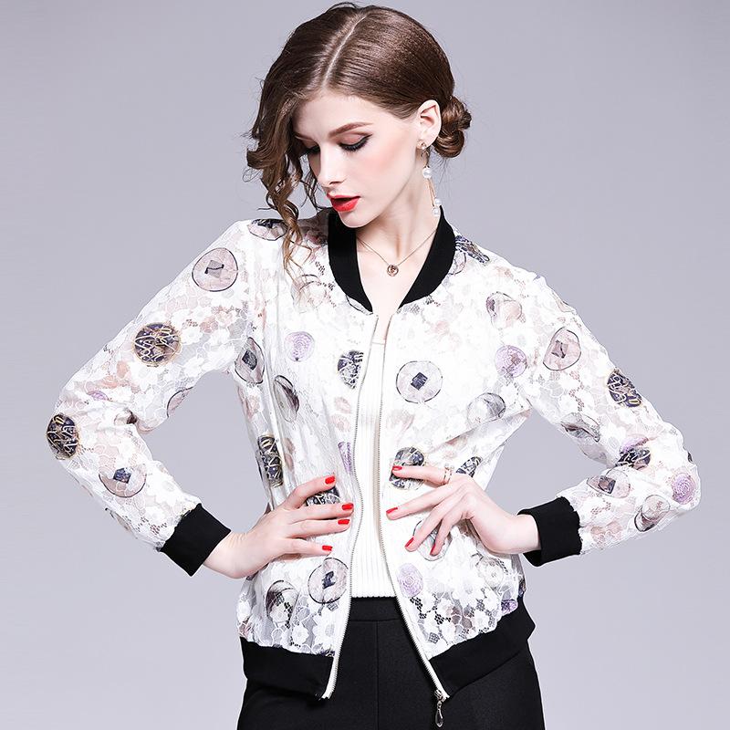 2019欧美春夏新款女装立领开衫印花性感透视雪纺短款棒球服小外套
