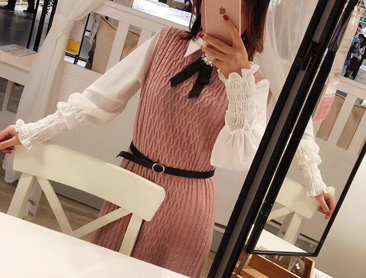 实拍现货 针织连衣裙+衬衫两件套 配腰带颜色:灰色、粉红色、杏色尺码:均码