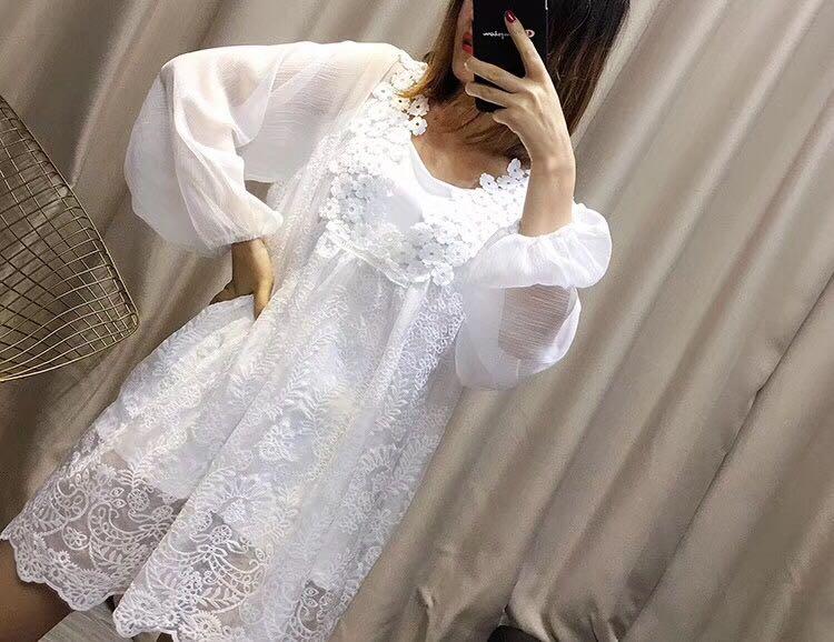 实拍现货 早春新款蕾丝娃娃裙连衣裙 配吊带颜色:白色尺码:均码