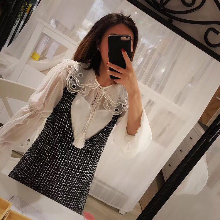 实拍现货 粗花呢背心连衣裙+雪纺衫颜色:黑色尺码:M、L