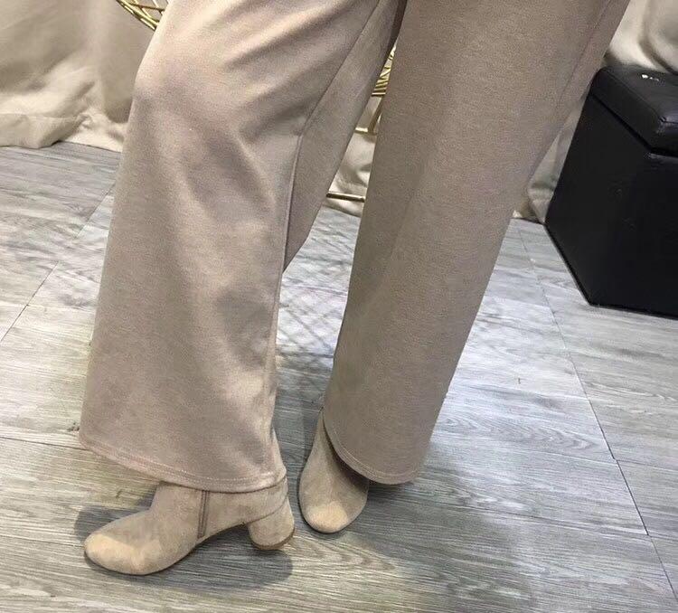 实拍现货 松紧腰宽松休闲九分裤阔腿裤颜色:米白色、卡其色尺码:均码