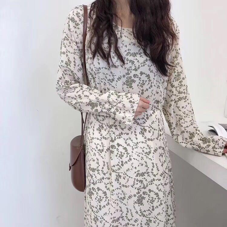 1012#,实拍现货 碎花圆领长袖连衣长裙女颜色:白色、绿色尺码:均码