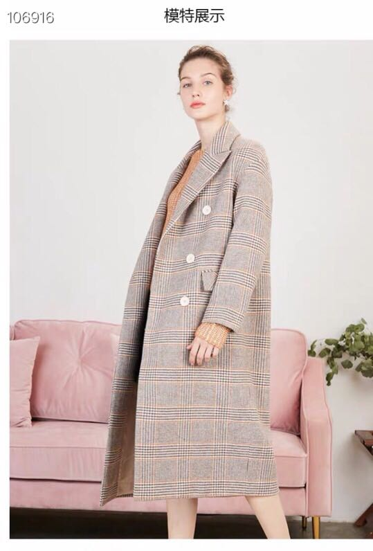 格子毛呢大衣女士2018冬季新款宽松流行外衣小个子中长款呢子外套