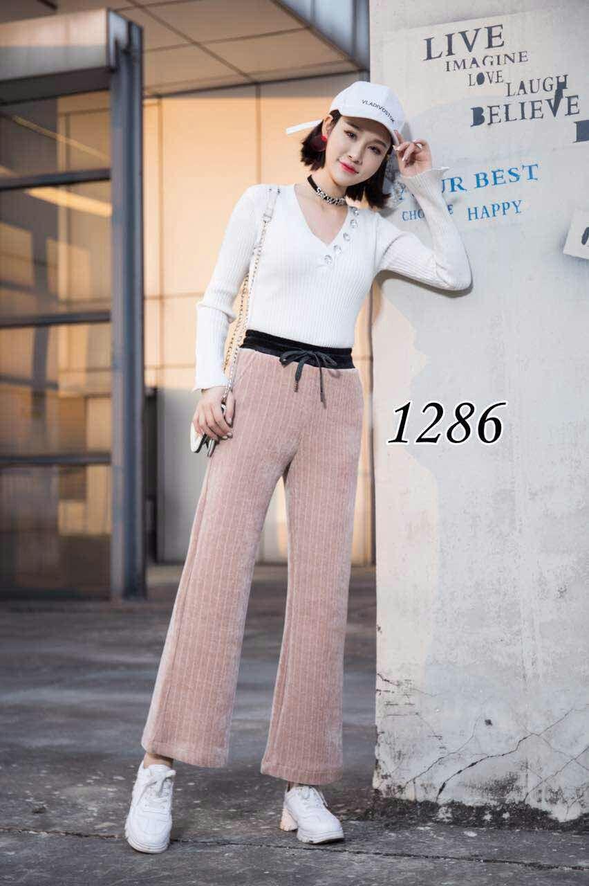 1286款 秋冬新款加厚加绒款休闲直筒阔腿裤