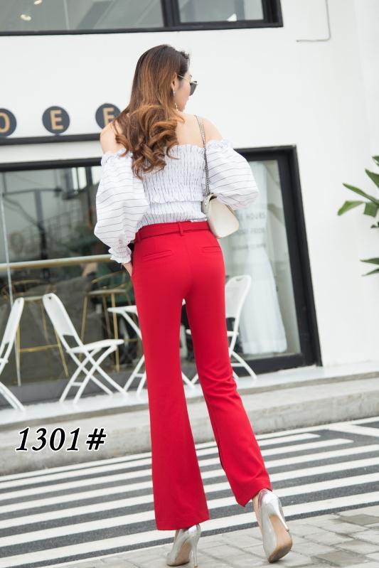 2019春季新款1301款麻料女微喇显瘦女裤