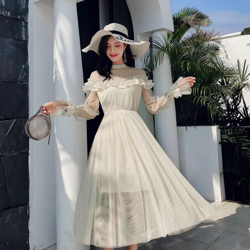 高档原版2019春款半高领花边蕾丝拼接网纱喇叭袖高端法式连衣裙S-Xl