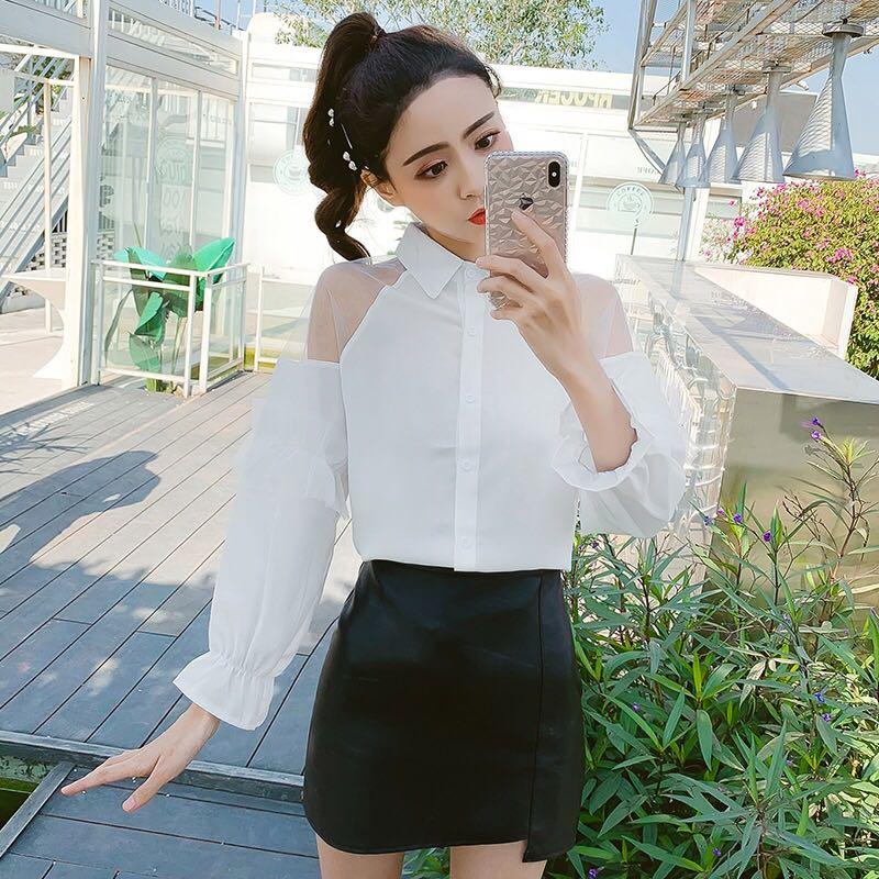 高档原版2019新款女装POLO领白衬衣网纱长袖衬衫女韩版上衣S-Xl