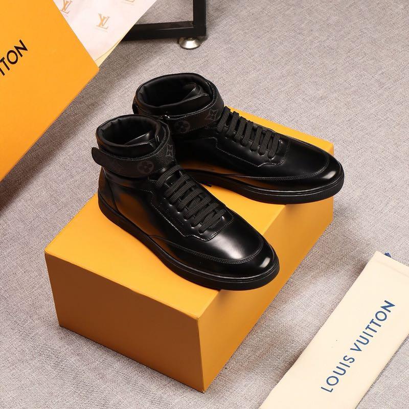 高帮休闲鞋原版进口小牛皮·水染牛皮内里制作鞋跟配饰经典老花魔术贴