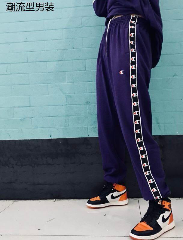 CHAMPION PANT 日版经典款C标字母 男女同款毛圈面料透气运动休闲串标长裤
