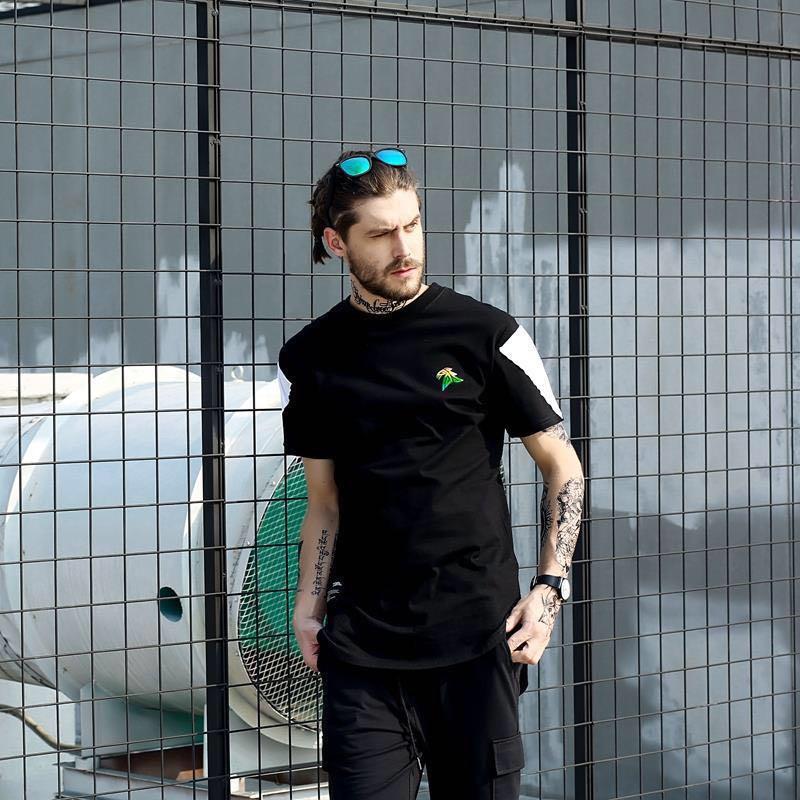 拼接拉链中长款嘻哈短袖T恤男女情侣装夏装2017爆款
