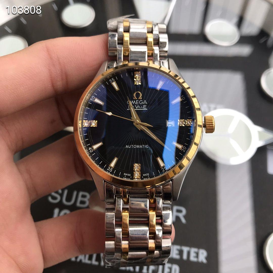 精品商务休闲男士机械手表 搭配西铁城8215机芯蓝宝石镜面男腕表