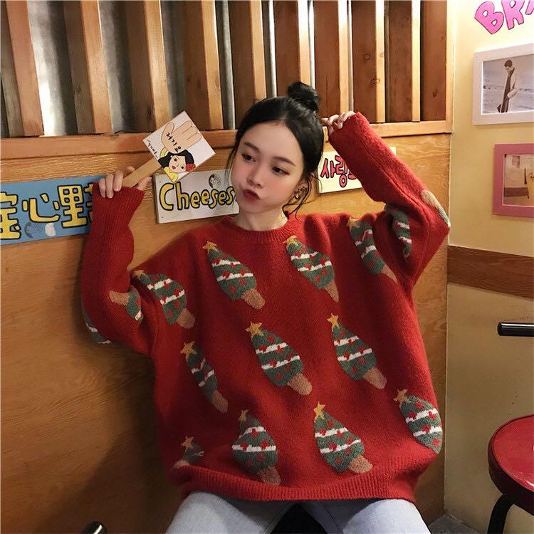 宽松圆领圣诞提花长袖毛衣
