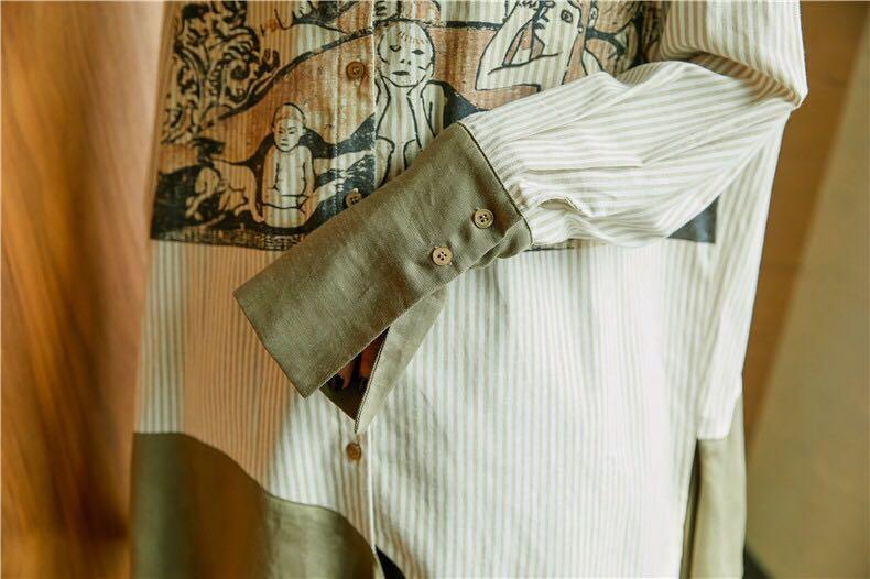 【XDl服饰】实拍波士顿艺术博物馆授权时差南纬17 印花衬衫女 现货