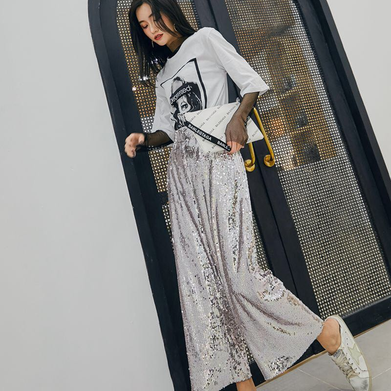 【XDl服饰】银色亮片九分裤春夏装女新款时尚高腰百搭宽松垂感阔腿裤休闲裤