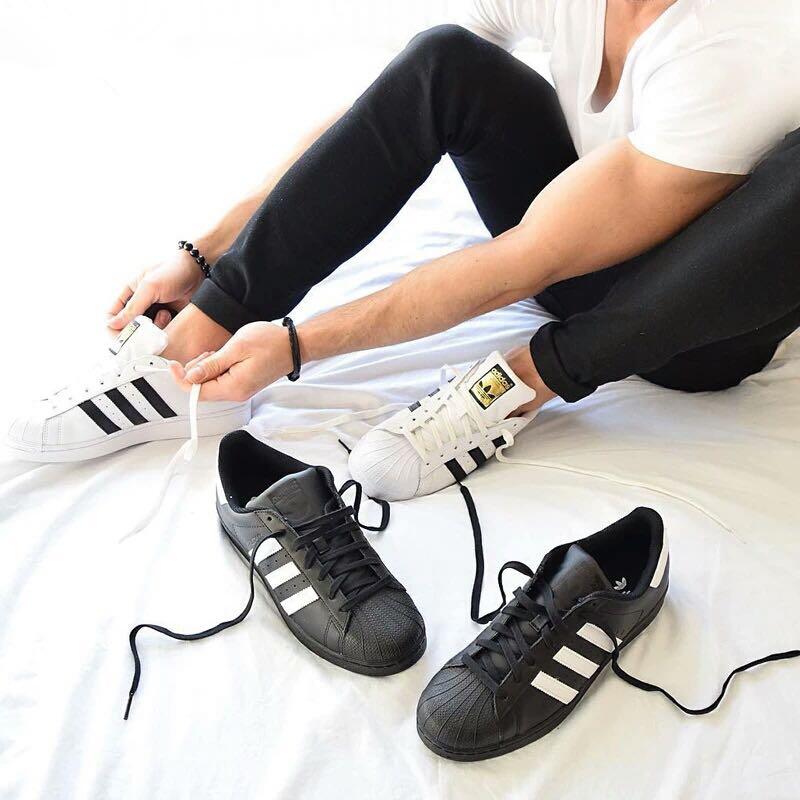 原单正品男鞋女鞋经典金标贝壳头板鞋三叶草牛皮休闲运动鞋C77124实体零售销售破万款