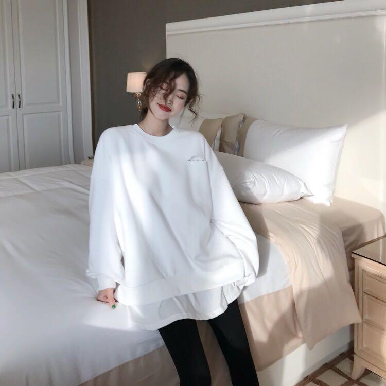 韩版气质宽松中长款百搭假两件套头卫衣女 实价