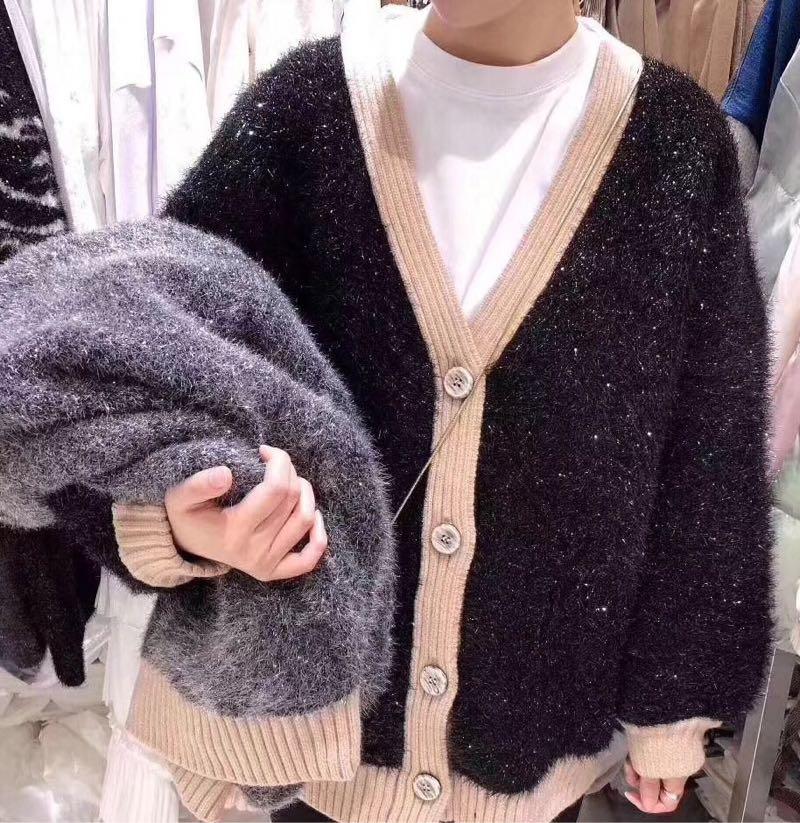 2019新款韩版气质V领撞色单排扣宽松亮丝针织毛衣开衫外套女