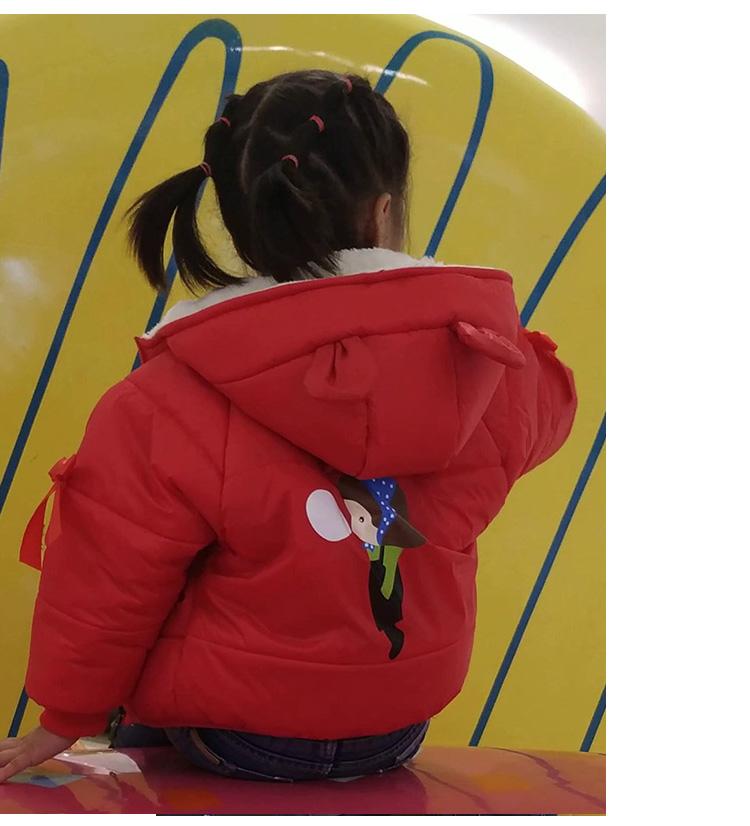 女宝宝棉衣女童棉袄儿童棉服加绒加厚小童外套红色衣服