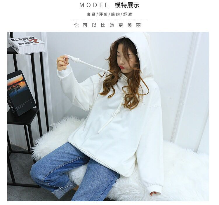 厂家直销纯色连帽卫衣女2019春秋新款长袖大码宽松套头打底上衣棉