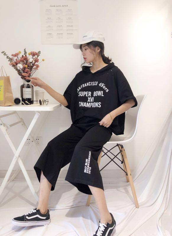 红慧衣依缘2019夏装新款时尚休闲短袖t恤配阔腿裤套装女原宿风两件套