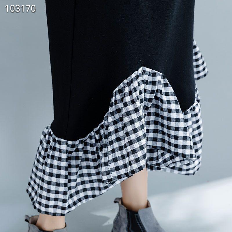 欧洲站大码女装加绒格子拼接中长款假两件荷叶袖鱼尾连衣裙女