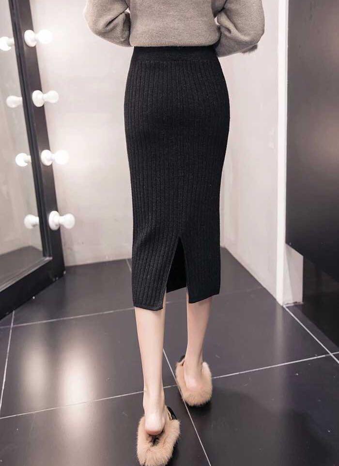 针织半身裙女秋冬季2018新款开叉包臀一步裙子高腰黑色中长款A字裙