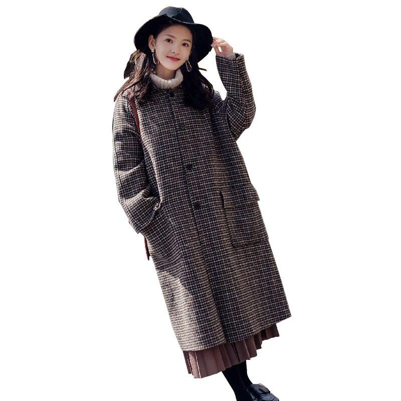 2018新款呢子大衣中长款赫本风千鸟格森系毛呢学生外套