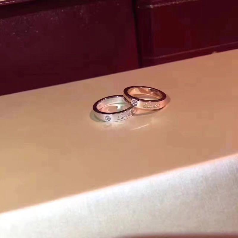 工艺 宽版到货亚的经典结婚字母 戒指对戒,单钻刻字款 6mm版本。玫瑰银色