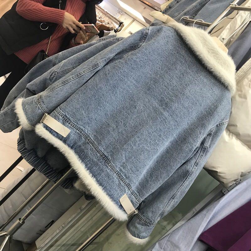 欧洲站2018羊羔毛外套女秋冬短款加厚宽松显瘦加绒牛仔夹克机车服