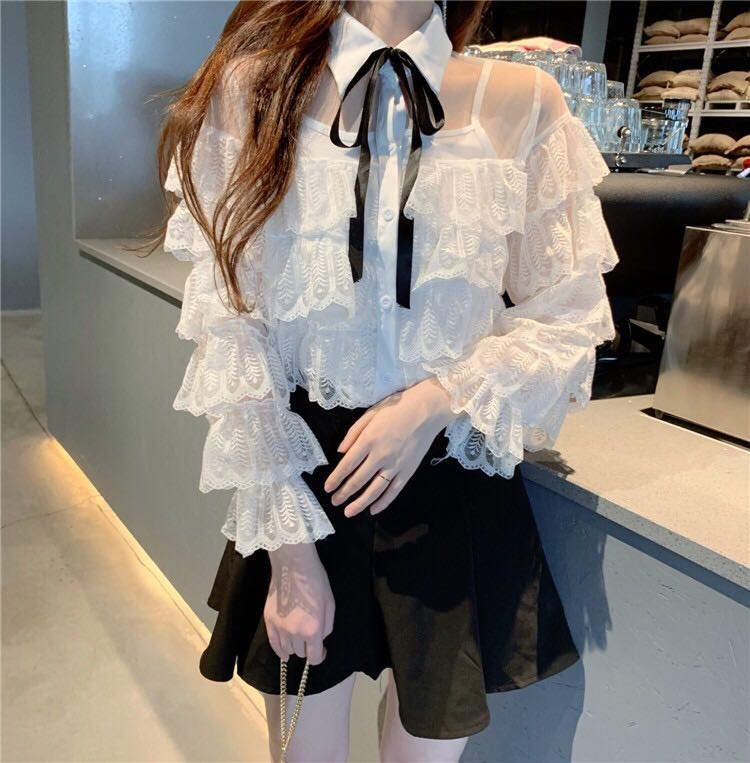 秋冬新款荷叶边蕾丝衬衫打底心机显瘦仙仙衬衣配吊带