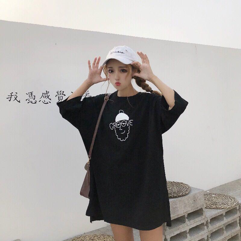 女装韩版宽松原宿卡通慵懒风短袖打底衫T恤上衣学生