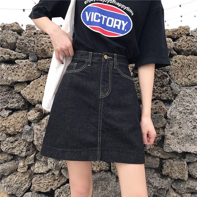 实拍实价~新款高腰显瘦A字型短款牛仔半身裙短裙子女