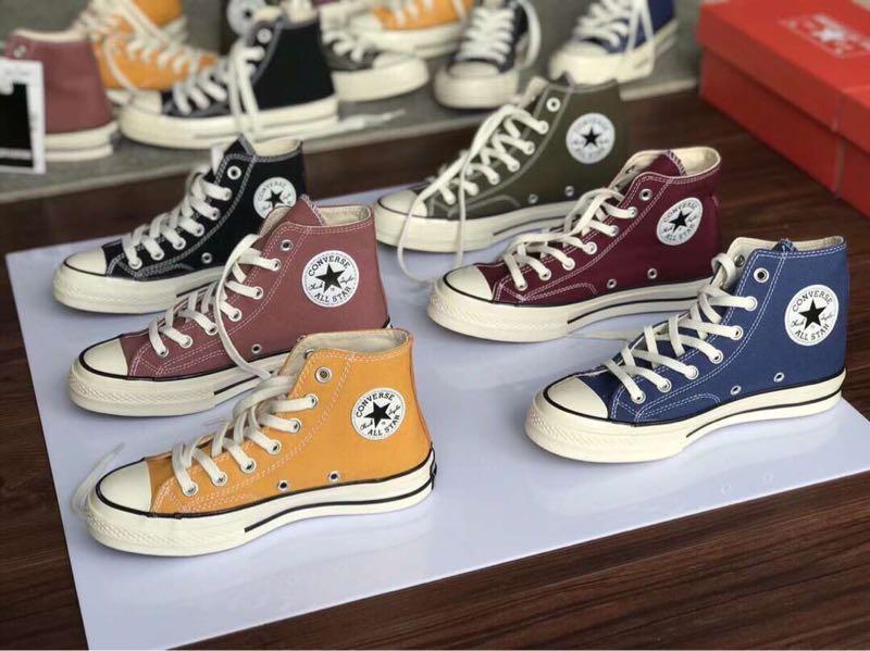 原装顶级专柜品质1970s 高帮帆布鞋三星标帆布休闲板鞋男女同