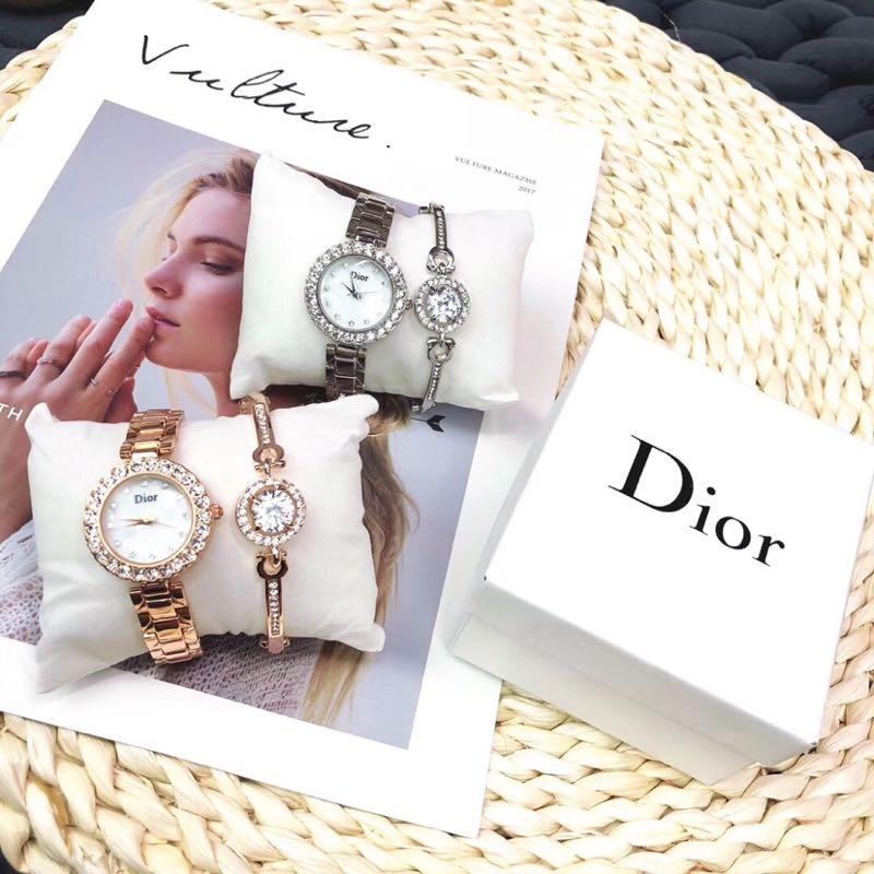 迪奥Dior优雅女腕表石英表两件套装