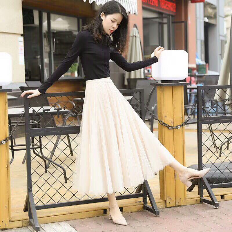 【酷巴适外贸服装公司】 2018新款 半身裙 纯色大摆裙高腰冬季棉质网纱大摆裙长裙精致高