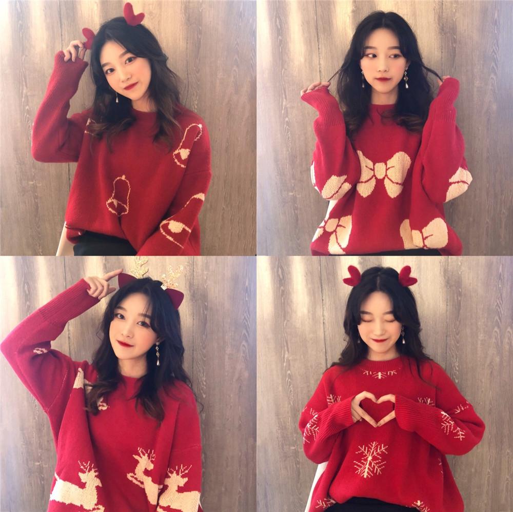 货号401#,¥68实拍 ?¥68必备的应节气圣诞毛衣红色针织衫洋气,颜色:红雪花、红铃铛