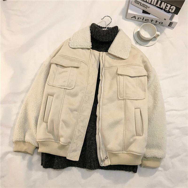 货号706#,¥149潮流男女冬装羊羔毛拼接棉衣外套加厚男刺绣情侣短外套,颜色:黑色、杏