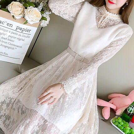 春款打底长袖蕾丝拼接连衣裙
